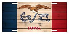 IOWA State Flag  Custom License Plate State Emblem WOOD Version