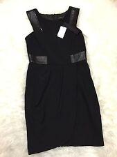 Nwt! Cynthia Steffe Black Leather Dress Size 6 Womens $295 Stunning