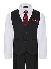 Formal Boys Toddler Baby Vest Set Shirt Tie Pants Pinstripe Wedding Suit 6M-4T