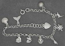 "Sterling Silver 7"" MINI SEA CREATURES CHARM BRACELET"