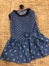 PET SPIRIT Blue with White Dots & Anchors DRESS  Puppy/Dog small
