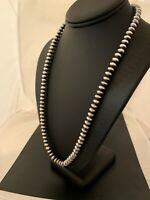 "Navajo Pearls Handmade Rondelles 8 mm Sterling Silver Bead Necklace 24"" 4665"