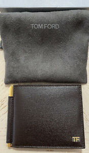 New $550 TOM FORD Men Hammered Leather Wallet W/Money Clip DK Brown  Italy