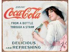NEW Coke-Through a Straw tin metal sign