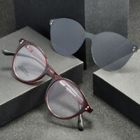 Men Women Round Eyeglass Frames Polarized Clip-on Sunglasses Flexible Glasses