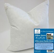 """20"""" Pillow Insert - White Goose Feather Down - 2"""" Oversized & Firm Filled"""