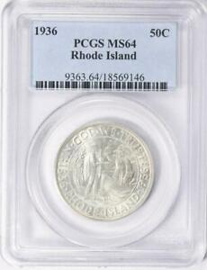 1936 Rhode Island Commemorative Silver Half Dollar - PCGS MS 64-Mint State 64