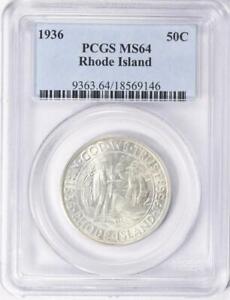 1936 Rhode Island Commemorative Silver Half Dollar - PCGS MS 64-Mint State 64