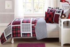 Red & Grey Plaid 4 Pcs Twin/ Full Size Kids Boys Girls Quilt/ Shams/ Cushion Set