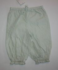 New Pottery Barn Kids Green White Gingham Check Pants or Bloomers 6-12m NWT Girl