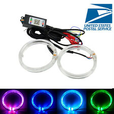"2Pcs Car 3.0"" RGB Angel Eyes Ring Lights with Shrouds Wireless Bluetooth Control"