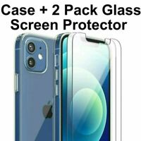 Clear Case For iPhone 12 Pro Max 11 XS XR 8 7 and 2 PCS Glass Screen Protectors