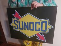 VINTAGE style SUNOCO GASOLINE  SIGN, GAS STATION PUMP PLATE, MOTOR OIL