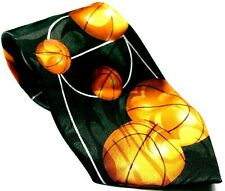 Basketball Court Sport Black Orange Men's Necktie Novelty