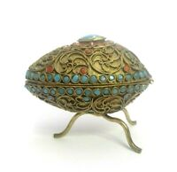 VINTAGE ANTIQUE GILDED EGG BRASS TURQUOISE & CORAL JEWELED COVERED ASHTRAY