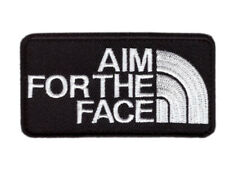 Black - Aim For the Face Guns 2A Morale with Velcro® Brand Hook Fastener Patch