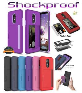 For Motorola Moto E7 /E 2020 Credit Card Wallet Slot Case Rubber Hybrid Cover