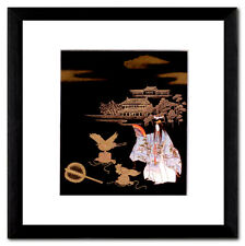 Tsurukame immagine giapponese Maki-e no-Teatro PASSEPARTOUT LEGNO MASSICCIO 20x20 QUADRO