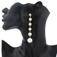 Gold Plated Pearl Round Drop Dangle Chain Earrings Long Piercing Gift
