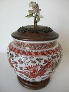 Kutani(?) jar, formerly converted to lamp