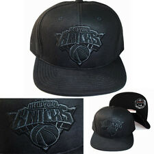 Mitchell & Ness NBA New York Knicks Fitted Hat Black Leather Front Logo Cap