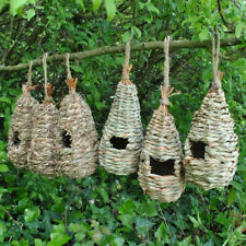 More details for bird nest nesting rooster pack (set of 6) straw and raffia roosting pouches