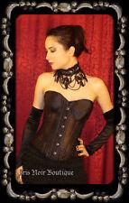 Black Satin Gothic Strapless Steel Boned Victorian Corset S