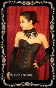 Black Satin Gothic Strapless Steel Boned Victorian Corset M