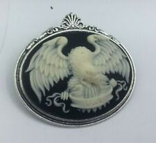 Cream American Eagle Silver Brooch Vintage Inspired Pin Cameo Plastic Black