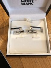 Montblanc Iconic Lines Cufflinks Bar Stainless Black White Lacquer 111306 NEW