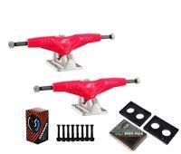 "Gullwing Pro III 9"" Pink Skate Trucks Pair + Cal 7 Hardware Riser Pads Set"