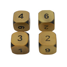 SkullSplitter Dice 4 Pack of D6 - Antique Gold Color with Black Numbers