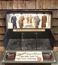 RARE Antique BRUNER WOOLENS Fabrics Tailoring Salesman Sample Case Display LARGE