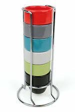 Coloured Ceramic Egg Cup Tower, Colourful Set of 6 Egg Cups with Stand