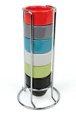 Colorate Ceramica Portauovo Torre, Set di 6 Bicchiere Per Uova con Stand