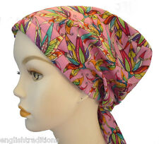 Pink Floral 100% Cotton Cancer Chemo Alopecia Hair Scarf Turban Hat Headwrap Cap