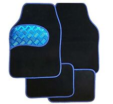 Universal Full 4 piece Car Floor Mat Set, With BLUE Kick Plate & Blue Border