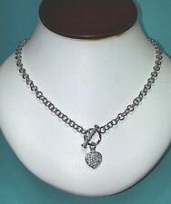 STERLING SILVER TOGGLE CHAIN WITH CZ HEART