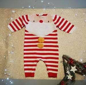 New Next Unisex Baby Father Christmas Knitted Romper Age Up To 3 Months