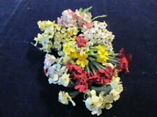 "Vtg Millinery Flower Collection 3/4"" Fabric Forget Me Not Slightly Shabby H2766"