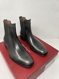 Salvatore Ferragamo Darien Size 9 EE Men's Leather Chelsea Boots