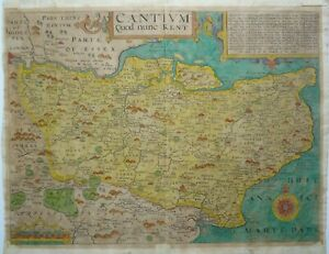 Antique Map of Kent by Christopher Saxton and William Kip 1637