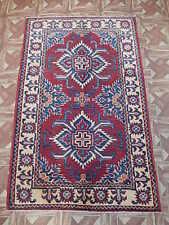 3' x 4' Kazak Turkic Nomad Design Carpet Antique Finish Handmade Area Rug