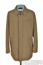 LUIGI BORRELLI Solid Brown Cotton Mens Jacket Trench Coat - EU 56