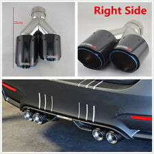 63-89mm Gloss Real Carbon Fiber+Stainless Steel Car Dual Exhaust Pipe Right Side