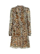 Whistles Brown Leopard Mini Shift Tunic Smock Shirt Occasion Party Dress 4 To 16