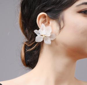 GORGEOUS FABULOUS ZARA WHITE DOUBLE FLOWER  EARRINGS