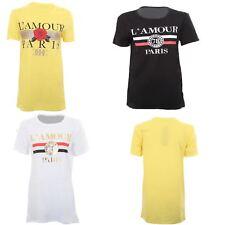 Ladies Short Sleeve L'amour Paris Graphic Long Loose Fit Stretch T-Shirt Top