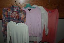 Lot of`5 Womens~J. CREW~Tops~Plaid BOY SHIRT~Pink Sweater~Peach SWEATSHIRT~Small