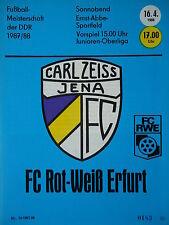 Programm 1987/88 FC Carl Zeiss Jena - RW Erfurt